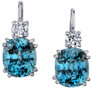 Excellent 9.5x8mm Cushion Cut Blue Zircon Handmade Earrings in 18kt White Gold - Diamond Accents