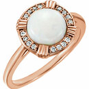 14KT Rose Gold Opal & .08 Carat Total Weight Diamond Ring