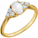 14KT Yellow Gold Opal & 1/5 Carat Total Weight Diamond Ring