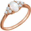 14KT Rose Gold Opal & 1/5 Carat Total Weight Diamond Ring