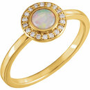 14KT Yellow Gold Opal & 1/10 Carat Total Weight Diamond Ring