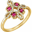 14KT Yellow Gold Ruby & 1/6 Carat Total Weight Diamond Clover Ring