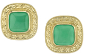 Fabulous Bezel Set 10mm Cushion Chrysoprase Button Earrings With Ornate 18kt Yellow Gold Frame