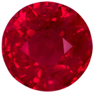 Optimum Red Ruby Round Loose Gem in Fiery Open Rich Red, 5.8 mm, 1.03 carats