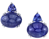 Gorgeous 18kt White Gold Double Tanzanite Earrings - 15.7x12mm Cabochon Oval & 7mm Trillion