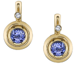 Sleek Bezel Set 6.5mm Round Tanzanite Earrings with Diamond Accents - 18kt Yellow Gold
