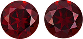 Bright & Lively Red Garnet Matched Pair in Round Cut, Vivid Rich Red Color in 11 mm, 11.68 carats - SOLD