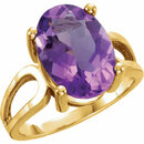 14KT Yellow Gold 14x10mm Oval Amethyst Ring