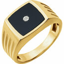 14KT Yellow Gold Men's Onyx & .004 Carat Total Weight Diamond Ring