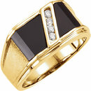 14KT Yellow Gold Men's Onyx & 1/8 Carat Total Weight Diamond Ring