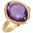 18K Vermeil 15x11x6mm Amethyst Ring Size 8 with Box