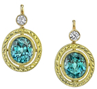 Amazing Handmade Carved 18kt Yellow Gold 5.92ct Blue Zircon Earrings With Diamonds