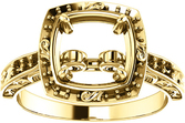 Asscher Sculptural Inspired Engagement Ring Mounting for 5.00 mm - 7.00 mm Center - Customize Metal, Accents or Gem Type