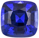 Bright Intense Rich Blue Colored Natural Sapphire Loose Gem in Cushion Cut, 5.5 x 5.4 mm, 0.93 carats