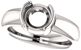 Chunky Half Bezel Set Solitaire Ring Mounting for Round Shape Centergem Sized 4.10 mm to 8.00 mm - Customize Metal, Accents or Gem Type