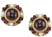 Elegant Cabochon Garnet 18kt Yellow Gold Hand Crafted Button Earrings - Garnet Bead & Seed Pearl Accents