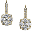 Exquisite Leverback Dangle Diamond Cluster Earrings in 18kt Yellow Gold - 28 Diamonds