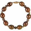 Freshwater Cultured Dyed Chocolate Pearl & Smoky Quartz Bracelet