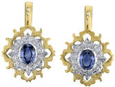 Intricate Hand Carved 2-Tone 18kt Yellow Gold Blue Sapphire (2.16ctw) Earrings