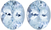 Lively Aquamarine Well Matched Pair in Oval Cut, Intense Blue, 11 x 9 mm, 6.64 carats