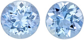 Loose Aquamarines in Well Matched Round Cut Pair in Rich Blue Color, 6.1 mm, 1.83 carats