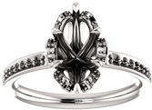 Petal Marquise Ring Solitaire Engagement Ring Mounting - Shape Centergems Sized 7.00 x 3.50 mm to 12.00 x 6.00 mm - Customize Metal, Accents or Gem Type