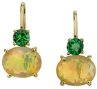 Pretty 18kt Yellow Gold Faceted Oval Opal& Tsavorite Garnet Handmade Earrings
