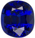 Rich Vivid Blue Sapphire Gem in Cushion Cut, Gemmy Rich Blue, 7.5 x 6.8 mm, 2.17 carats