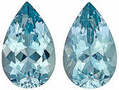 Splendid Unheated Paired Aquamarines for SALE! Beautiful Cut and Clarity - Perfect for Earrings! Pear Cut, 9.43 carats