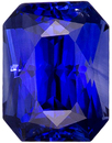 Stunning Radiant Cut Sapphire for Sale in Vivid Intense Blue Color, 6.4 x 4.8 mm, 1.18 carats