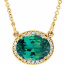 14KT Yellow Gold Chatham Created Emerald & .05Carat Total Weight Diamond 16.5