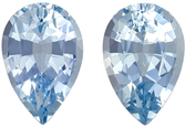 Beautiful Well Matched Pair of Aquamarine in Pear Cut, Medium Pure Blue, 8.1 x 5.4 mm, 1.76 carats