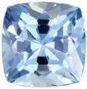 Rare and Beautiful Cushion Cut Aquamarine Loose Gem, Vivid Rich Blue, 6.1 mm, 0.88 carats