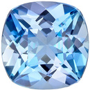 Rich Color Cushion Cut Aquamarine Loose Gem, Vivid Rich Blue, 6.8 mm, 1.16 carats