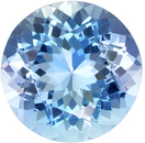 Rare Gemmy Round Cut Aquamarine Loose Gem, Vivid Rich Blue, 9.7 mm, 3.01 carats