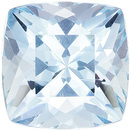 Calibrated Size Aquamarine Gemstone in Cushion Cut, Medium Blue, 7 x 7 mm, 1.45 carats