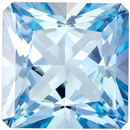 Eye Catching Aquamarine Gemstone in Radiant Cut, Vivid Rich Blue, 6.6 mm, 1.22 carats
