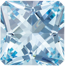 Custom Cut Aquamarine Gemstone in Radiant Cut, Medium Rich Blue, 9.1 mm, 3.16 carats