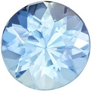 Excellent Clarity on Aquamarine Gemstone in Round Cut, Medium Rich Blue, 6.3 mm, 0.76 carats