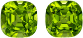 Dazzling Well Matched Pair of Peridot in Cushion Cut, Lime Green, 8.2 x 8.2 mm, 6.8 carats