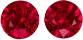 4.0 mm, 0.61 carats Super Gem Pair of Rubies in Round Cut, Pigeon's Blood Color - SOLD