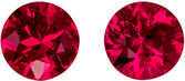 Perfect 4.1 mm, 0.85 carats Pair of Rubies in Round Cut, Vivid Rich Red Color