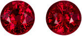 4.4 mm, 0.9 carats Bright Rubies Pair, Pure Pigeon's Blood Color in Round Cut