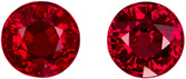1.19 carats Bargain Pigeon Blood Red Rubies in Matched Pair, Pure Red Color in 4.7 mm