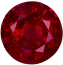 5.6 mm, 0.78 carats Ruby Gemstone in Round Cut, High Color in Vivid Intense Red Round Gem