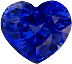 2.1 carats Heart Shaped Blue Sapphire Heart Gemstone in Intense Rich Blue Color, 7.6 x 6.8 mm