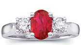 Ravishing Natural Top Gem 1.4 carat 7x5mm Ruby & Diamond 3 Stone Platinum Ring