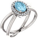 Split Band Halo Style Platinum Oval 8x6mm Aquamarine & 1/8 Carat Total Weight Diamond Ring