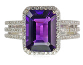Impressive Natural Large 2.75ct 10x8mm GEM Grade Amethyst set in 14 kt White Gold with Lots of Pave Diamonds - SOLD