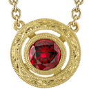 Beautiful Ornate 18kt Yellow Gold Handmade Bezel Set 6mm Red Spinel Necklace